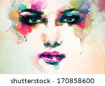 Abstract Woman Face. Watercolo...