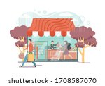 grocery shop with seller... | Shutterstock .eps vector #1708587070