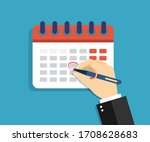 calendar with circled date ... | Shutterstock .eps vector #1708628683