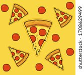 sliced pizza with cheese and... | Shutterstock .eps vector #1708629499