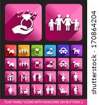 flat family icons with shadows... | Shutterstock .eps vector #170864204