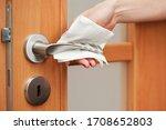 hand cleaning metal door handle ... | Shutterstock . vector #1708652803