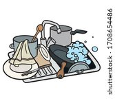 sink with dirty dishes. pan ... | Shutterstock .eps vector #1708654486