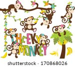 girl monkeys   cheeky monkey | Shutterstock .eps vector #170868026