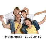 cute family isolated on white... | Shutterstock . vector #170868458