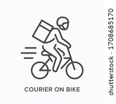 courier on bike line icon.... | Shutterstock .eps vector #1708685170