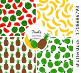 patterns with exotic fruits... | Shutterstock . vector #1708686793