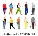 cartoon casual people on white. ...   Shutterstock . vector #1708687120