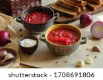 soup borscht on a beige...