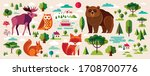 collection of wild animals and... | Shutterstock .eps vector #1708700776