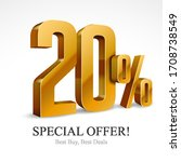 20  off special offer gold 3d... | Shutterstock .eps vector #1708738549