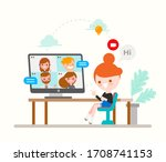 young girl chatting with her... | Shutterstock .eps vector #1708741153