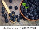 Ripe Blackberries With Leaves...