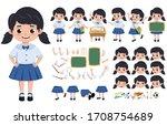 student girl in uniform... | Shutterstock .eps vector #1708754689