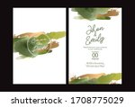 green and gold wedding set with ...   Shutterstock .eps vector #1708775029
