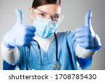 Caucasian Female Doctor Showing ...