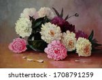 White And Pink Peonies In A...