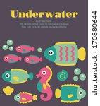 underwater card design. vector... | Shutterstock .eps vector #170880644