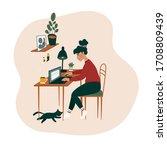 freelancer woman character...   Shutterstock .eps vector #1708809439