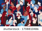 people talking and diversity... | Shutterstock . vector #1708810486