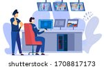 security men looking at video... | Shutterstock .eps vector #1708817173