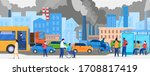 pollution in city with road... | Shutterstock .eps vector #1708817419