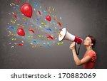 young girl having fun  shouting ... | Shutterstock . vector #170882069