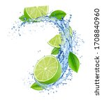 Cutted lime with leaves in...