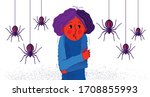 arachnophobia fear of spiders... | Shutterstock .eps vector #1708855993