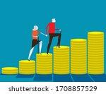 senior money steps. elder... | Shutterstock .eps vector #1708857529