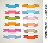 colorful retro vector ribbons ... | Shutterstock .eps vector #170886158