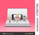 kids around realistic phone on... | Shutterstock .eps vector #170887388