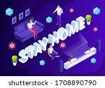 stay home motivational banner... | Shutterstock .eps vector #1708890790