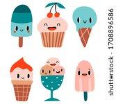 summer set with 6 ice cream... | Shutterstock .eps vector #1708896586