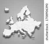 3d map of europe with borders   Shutterstock .eps vector #1708906390