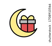 gift box ramadan moon icon....
