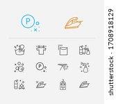 textile icons set. hand wash...