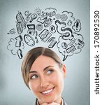 young business woman thinking... | Shutterstock . vector #170892530