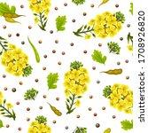 pattern rape flowers and leaves ...   Shutterstock .eps vector #1708926820