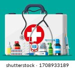 medical first aid kit with... | Shutterstock .eps vector #1708933189