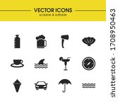 sunny icons set with beer ...