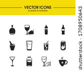 drink icons set with kambucha ...