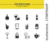alcohol icons set with kambucha ...