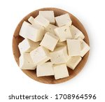 Tofu Cheese In Wooden Bowl...
