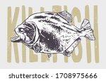 engraving style piranha fish... | Shutterstock .eps vector #1708975666