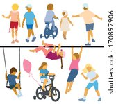a set of silhouettes  children... | Shutterstock .eps vector #170897906