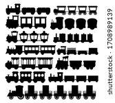 Cartoon Silhouette Black Train...