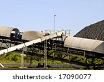 Conveyor Belt used to Load Coal for Transport - stock photo