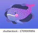 cartoon doodle whale. children... | Shutterstock .eps vector #1709009896