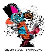 hand drawn fashion model  | Shutterstock .eps vector #170902070